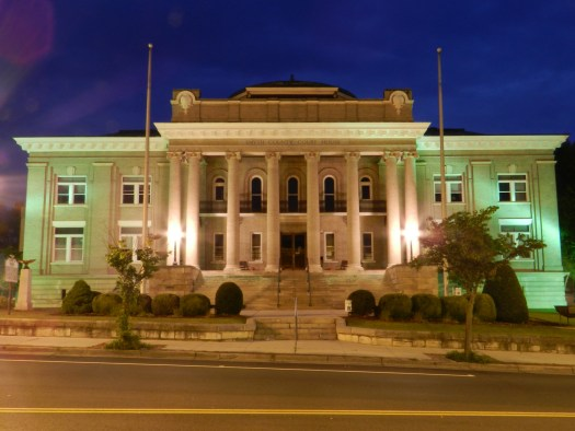 Low light image of the Smyth County Court House in Marion, VA