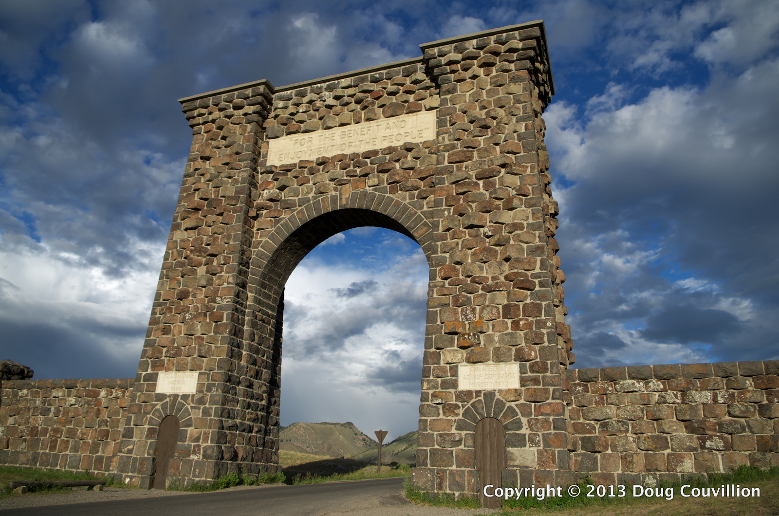 photograph of the north gate into Yellowstone National Park