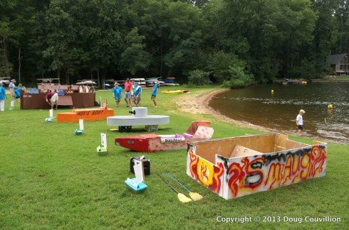 prerace photograph of some of the boats in the 2013 Lake Of The Woods Cardboard Boat Regatta