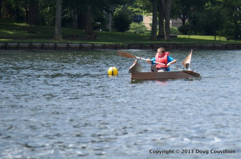 photograph of the cardboard boat Sea Bear in the 2013 Lake Of The Woods Cardboard Boat Regatta