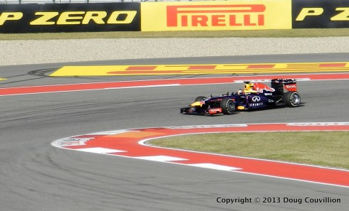 photograph of a Red Bull Formula 1 car in turn 15 at Circuits of The Americas in Austin Texas