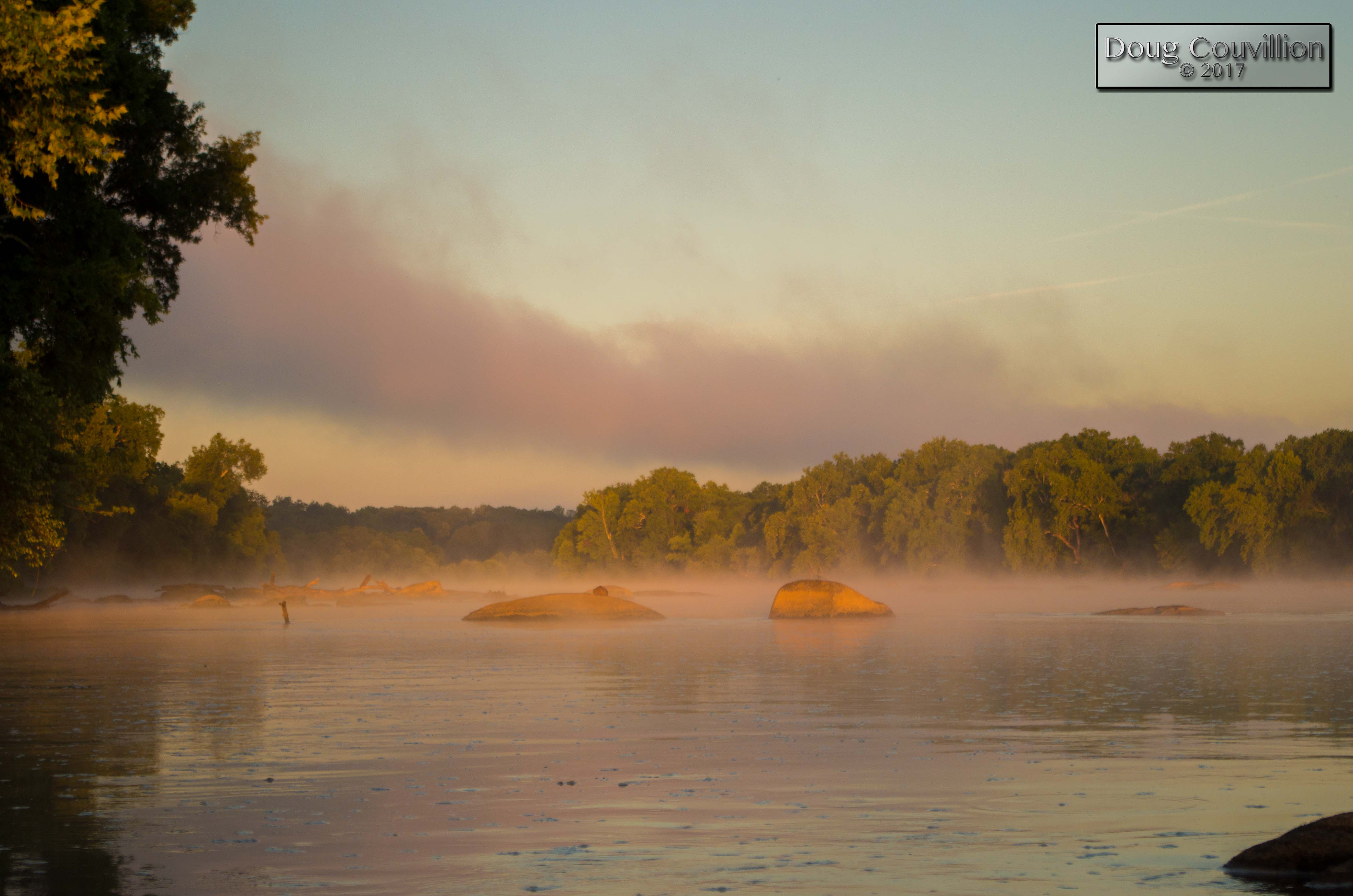 Photograph of morning mist over the James River by Doug Couvillion