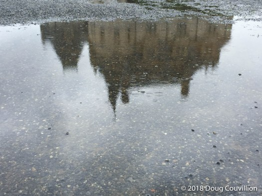photograph of the Biltmore mansion reflected in a puddle by Doug Couvillion
