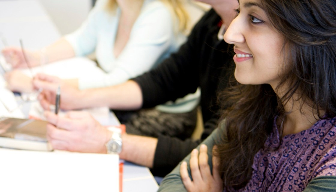 Students listen in class