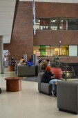 Students relax between classes at the New Westminster Campus.