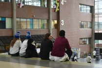 Relaxing after the Make Some Noise for Mental Health rally on Jan. 31.