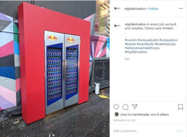 Instagram screenshot of Red Bull doors.