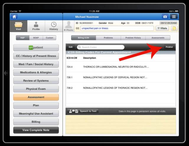 pick list in billing section assessment section electronic health records iPad app