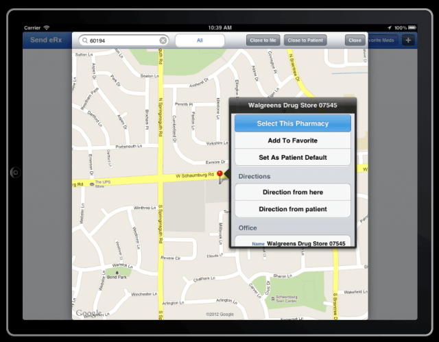 pharmacy search features on drchrono electronic health records iPad app