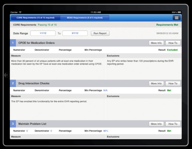 meaningful use report cpoe drug interactions on drchrono EHR iPad app