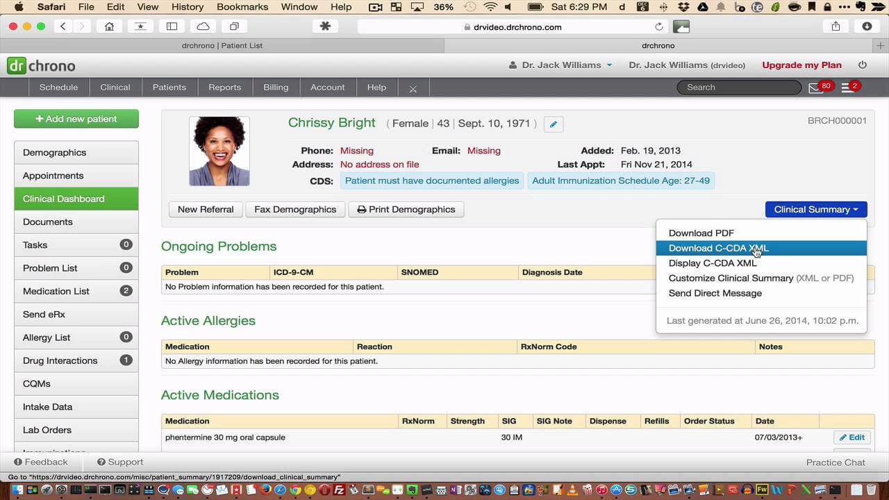 exporting importing data from an ehr using ccda