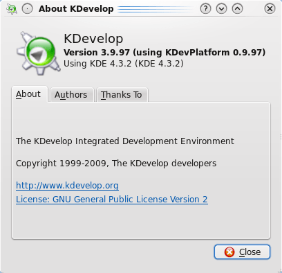 KDevelop beta7 about dialog