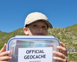 Boy with geocache box