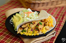 Chicken soft tacos with key lime corn