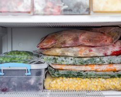 Freezer with extra sauces and vegetables