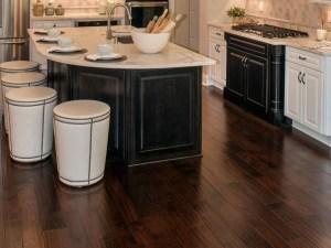 Dark wood floor in kitchen