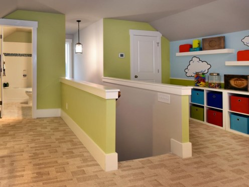 Patterned carpeting in kids playroom