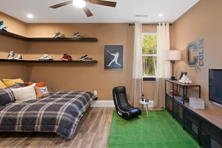 Preteen bedroom featuring a baseball theme by Drees Homes in Washington D.C.
