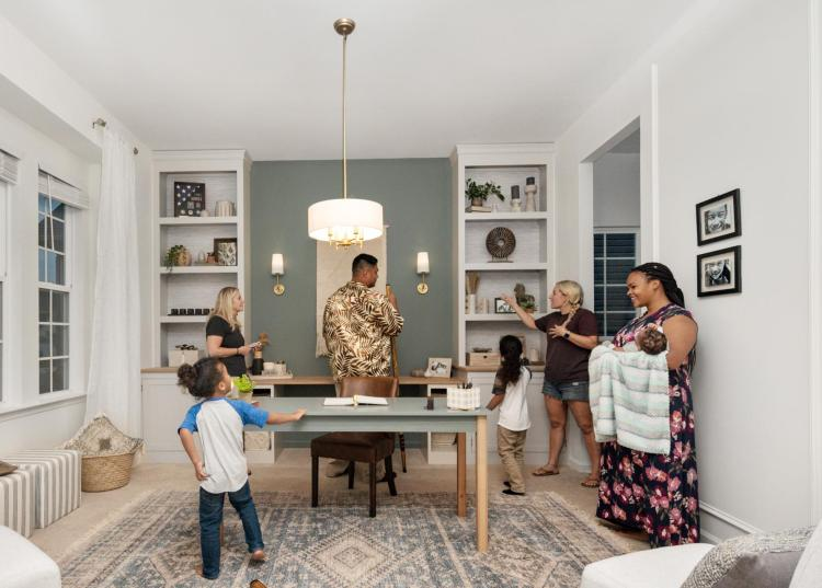 Washington D.C. military family reacts to home office makeover by Sam Ryan Designs and Drees Homes