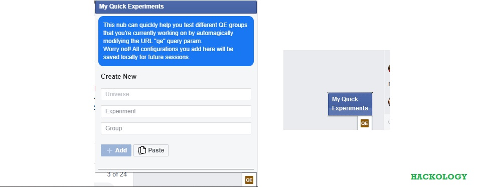 """Facebook Users See """"My Quick Experiments"""" Dialogue"""