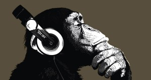 Chimp listening to music