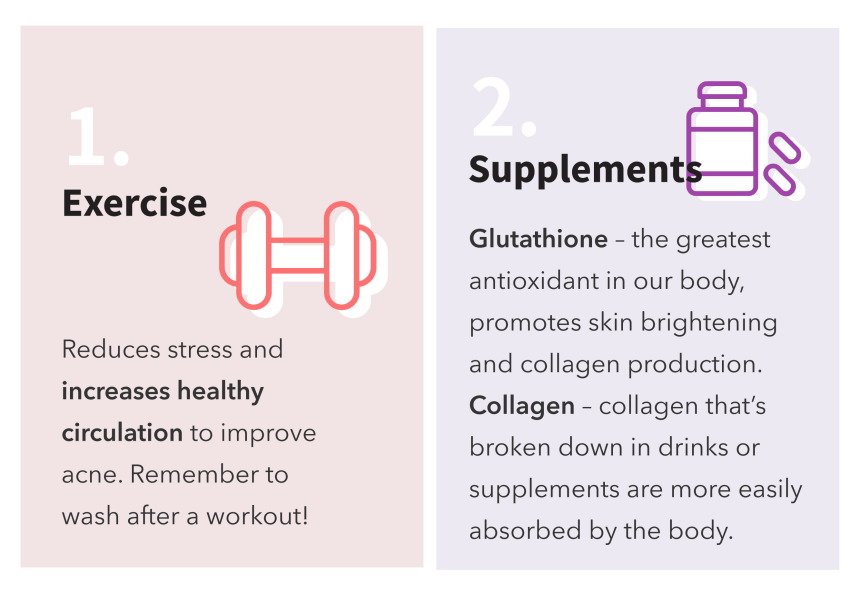 Get glowing skin - exercise and supplements