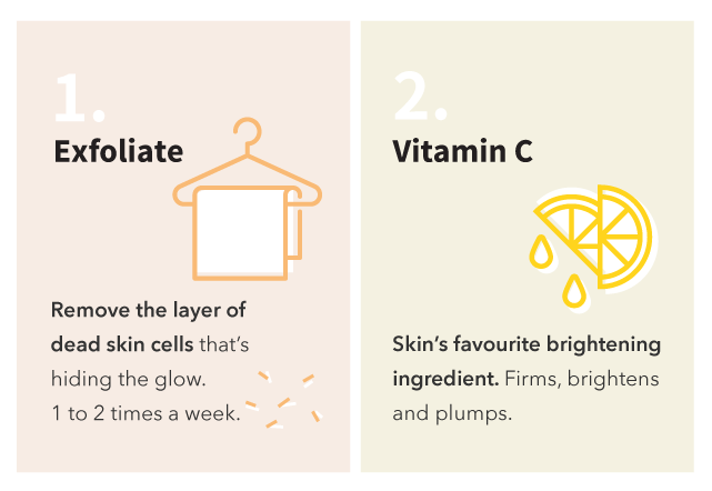 Exfoliate and apply vitamin c