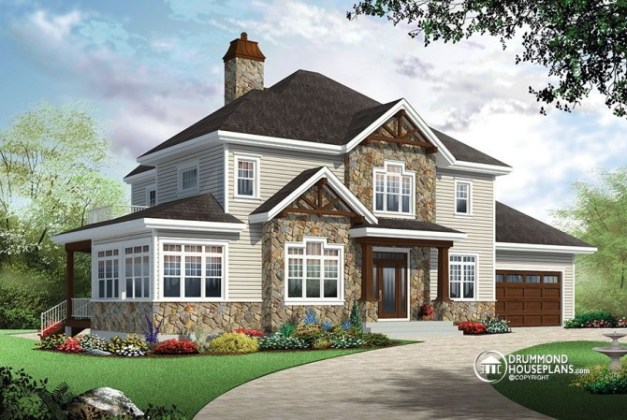 4 bedroom Traditional house plan with Rustic touches   two master     4 bedroom Traditional house plan with Rustic touches   two master suites