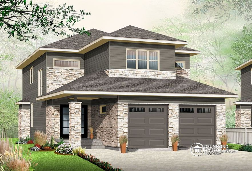 Narrow lot house plan with nursery   Drummond Plans