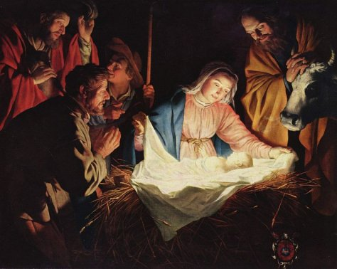 """""""The Adoration of the Shephers"""" by Gerard van Honthorst (Image in the public domain)"""