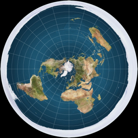 This is one conception of a flat earth.  The white around the edges is an ice wall that prevents people from falling off.  (click for credit)
