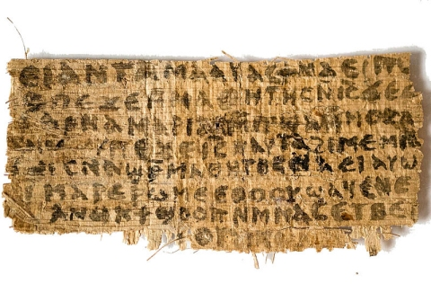 "A papyrus fragment that contains the phrase, ""Jesus said to them, 'my wife...'.""  It and its sister document (a papyrus fragment that contains some of the Gospel of John) are almost certainly forgeries.  (click for credit)"