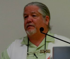 Mark Armitage giving a talk at a meeting of the Creation Science Fellowship.  (click for source)