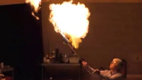 This is me lighting a methane balloon during a lecture.