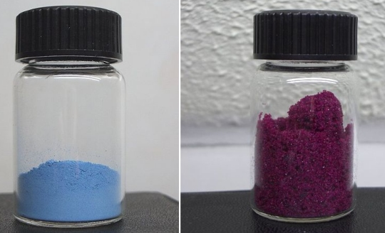 The anhydrous (left) and hydrated form (right) of cobalt (II) chloride.  (click for credit)