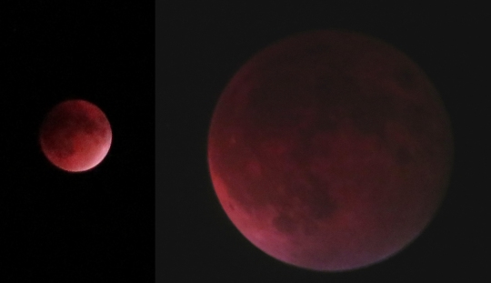 The moon during the recent eclipse as seen by a camera (left) and through a telescope (right).  [click for a larger image]