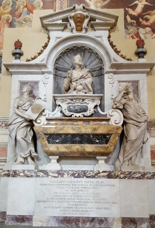 Galileo's tomb in the Basilica of Santa Croce in Florence, Italy (click for larger image)