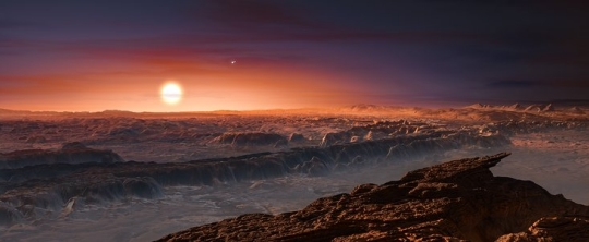 An artist's conception of the newly-discovered planet Proxima Centauri b (click for credit)