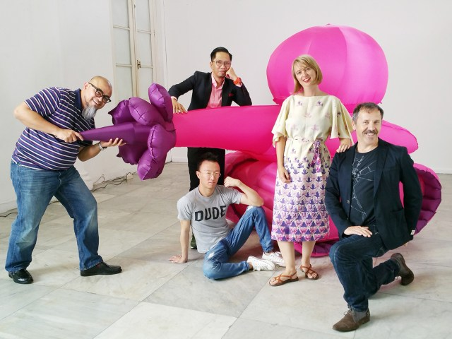 Badrolhisham Tahir, Eugene Soh, Zoe Walker and Neil Bromwich at Zoe and Neil's Inflatable Love Tank