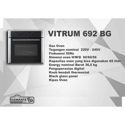 Diamante oven electric vitrum 692 BG via duniamasak