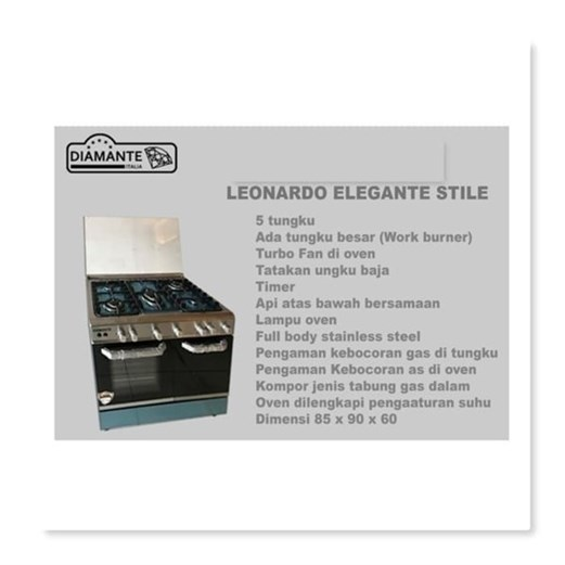 Diamante freestanding cooker leonardo elegant stile via duniamasak