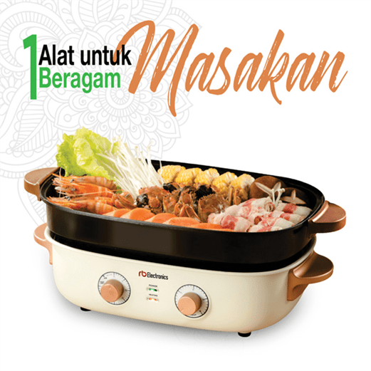 rb electronics Mesin Multifunction Cooker 5 in 1 via duniamasak.com