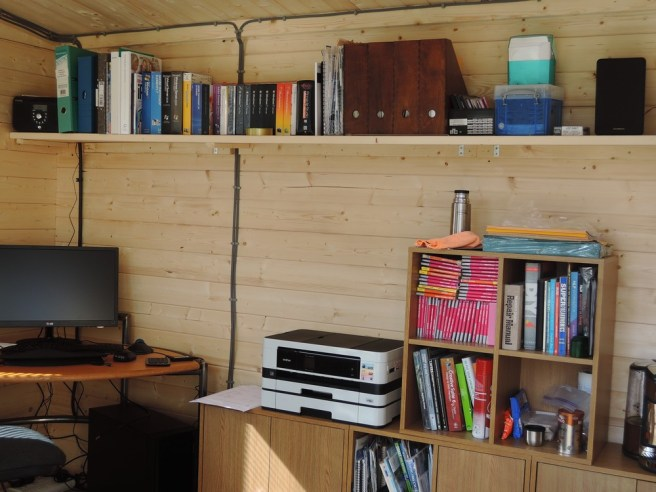 Working From Home - Log Cabin Dunster House with bookshelf