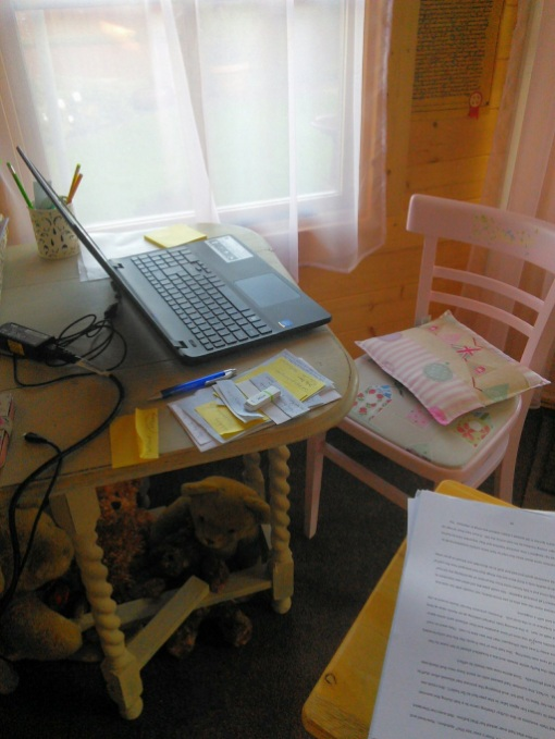 Working From Home - Log Cabin Dunster House with chair and table