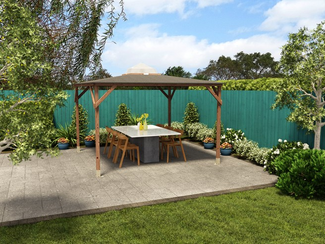 Erin Gazebo from Dunster House with garden furniture