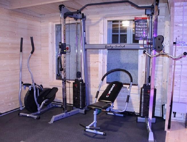 Christmas Log Cabin designed as a gym