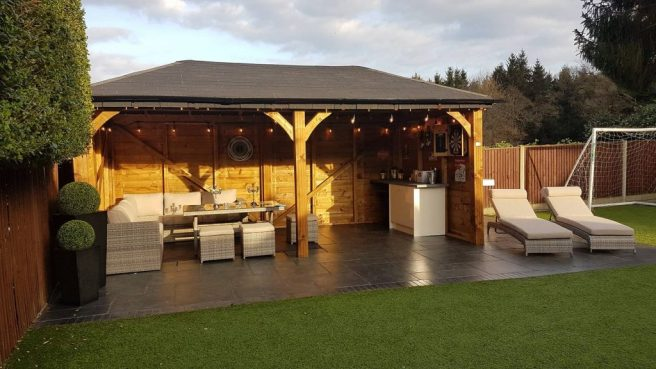 Gazebo with garden furniture