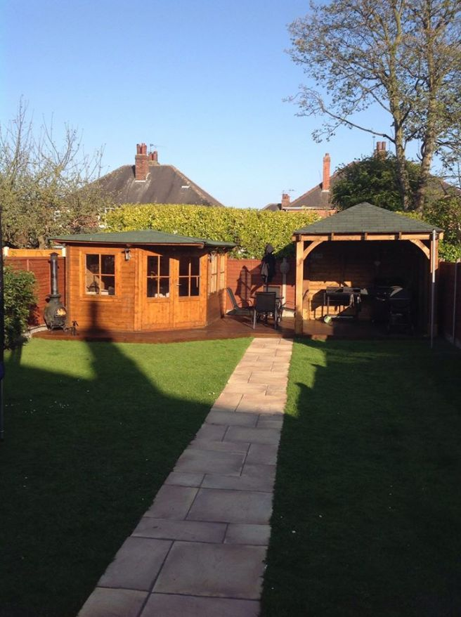 Summer Garden with Gazebo and Summerhouse