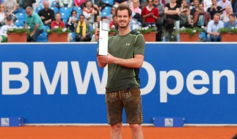 during the finale match between Andy Murray of Great Britain and Philipp Kohlschreiber of Germany of the BMW Open at Iphitos tennis club on May 4, 2015 in Munich, Germany.
