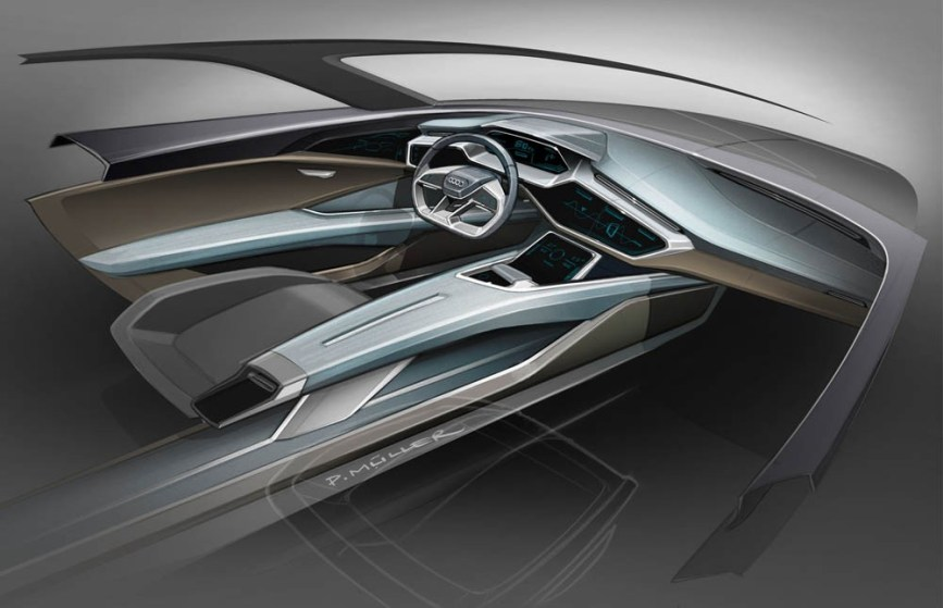 The operating and display concept is deeply integrated into the plastic, driver-oriented architecture of the cockpit. Because the electric drive has no propshaft, the center console seems to float.